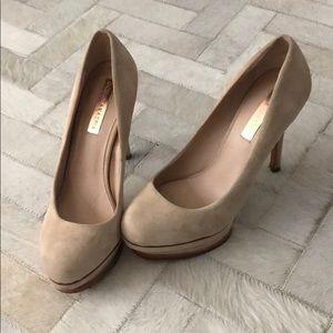 BCBGmaxAzria nude suede platform heels